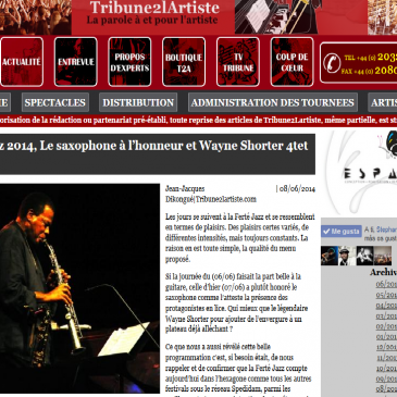 Tribune 2 l'artiste photos de Wayne Shorter – Ferté Jazz 2014