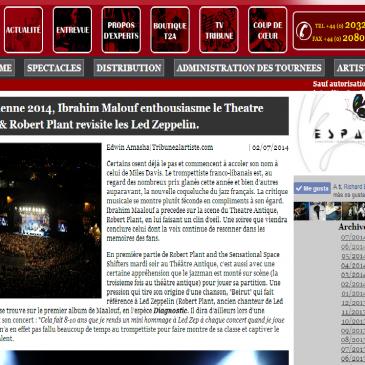 Tribune 2 l'artiste photos de Ibrahim Maalouf et Robert Plant